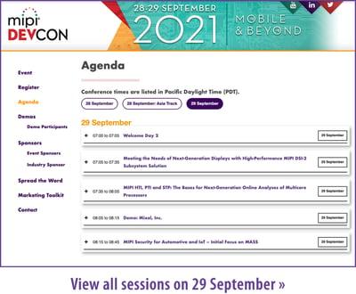 MIPI DevCon 2021 Agenda 29 September