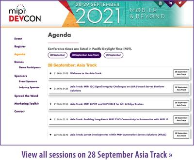 MIPI DevCon 2021 Agenda Asia Track