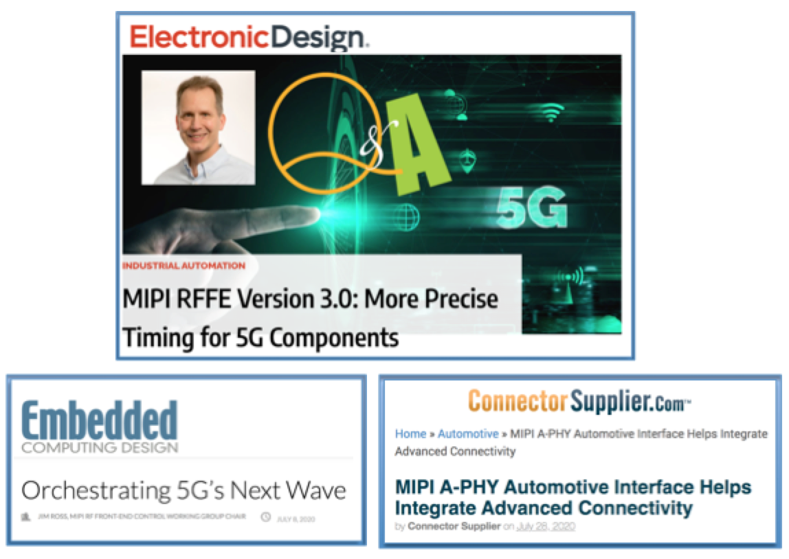 Featured in Embedded Computing Design, Electronic Design and Connector Supplier: MIPI RFFE v3.0 and MIPI A-PHY v1.0